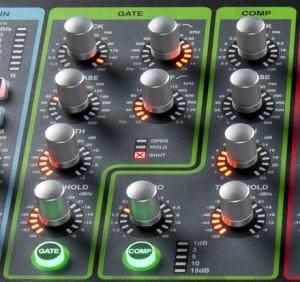 Dynamics på ett digitalt mixerbord.
